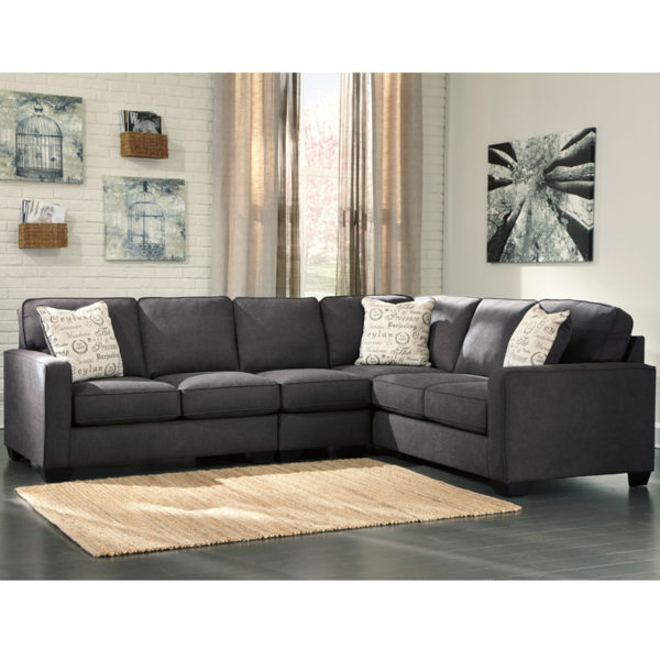 Lowest Price Signature Design by Ashley Alenya 3-Piece Right Side Facing Sofa Sectional in Charcoal Microfiber