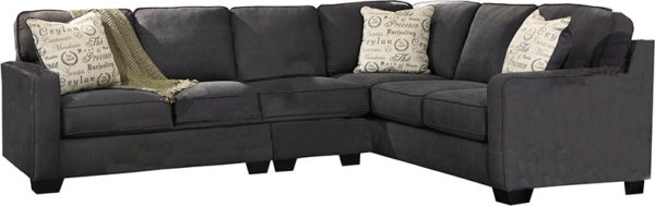 Contemporary Style 3 Piece L-Shape Sectional with Toss Pillows Charcoal Microfiber Sectional