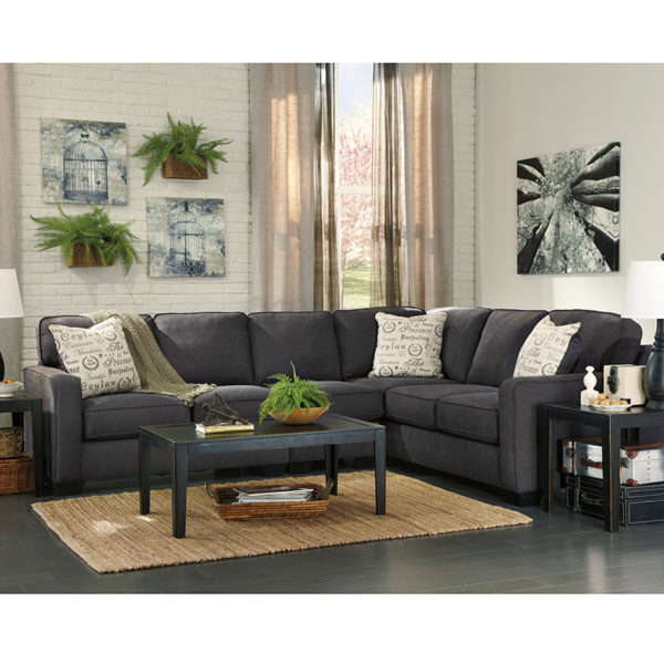 Wholesale Signature Design by Ashley Alenya 3-Piece Right Side Facing Sofa Sectional in Charcoal Microfiber