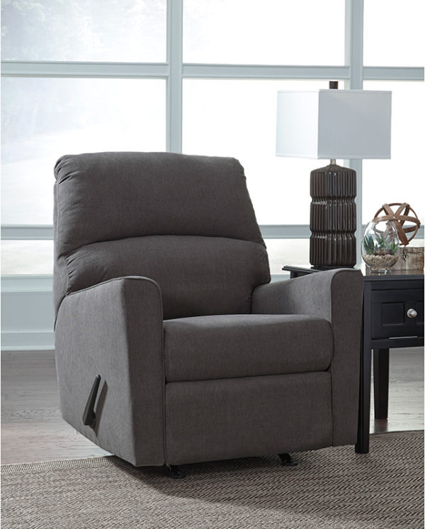 Lowest Price Signature Design by Ashley Alenya Rocker Recliner in Charcoal Microfiber