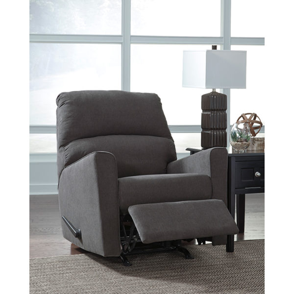 Contemporary Style Charcoal Microfiber Recliner