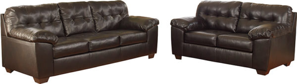 Lowest Price Signature Design by Ashley Alliston Living Room Set in Chocolate DuraBlend