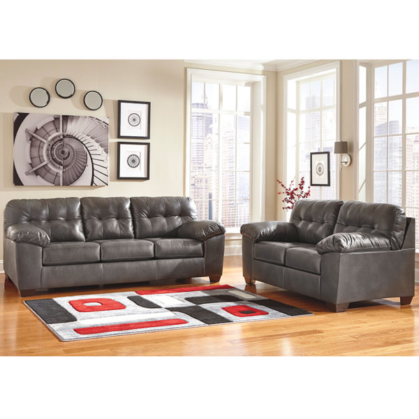 Wholesale Signature Design by Ashley Alliston Living Room Set in Gray DuraBlend