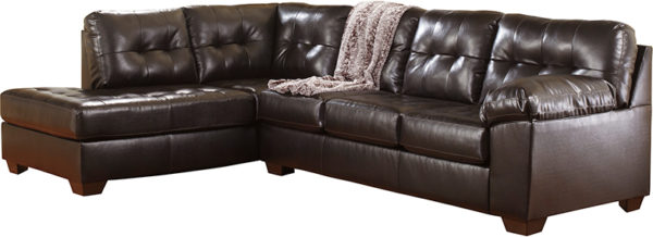 Lowest Price Signature Design by Ashley Alliston with Left Side Facing Chaise Sectional in Chocolate DuraBlend