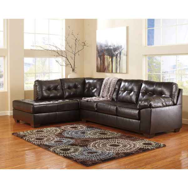 Wholesale Signature Design by Ashley Alliston with Left Side Facing Chaise Sectional in Chocolate DuraBlend