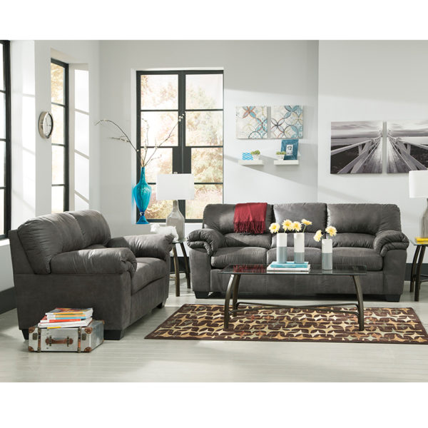 Wholesale Signature Design by Ashley Bladen Living Room Set in Slate Faux Leather