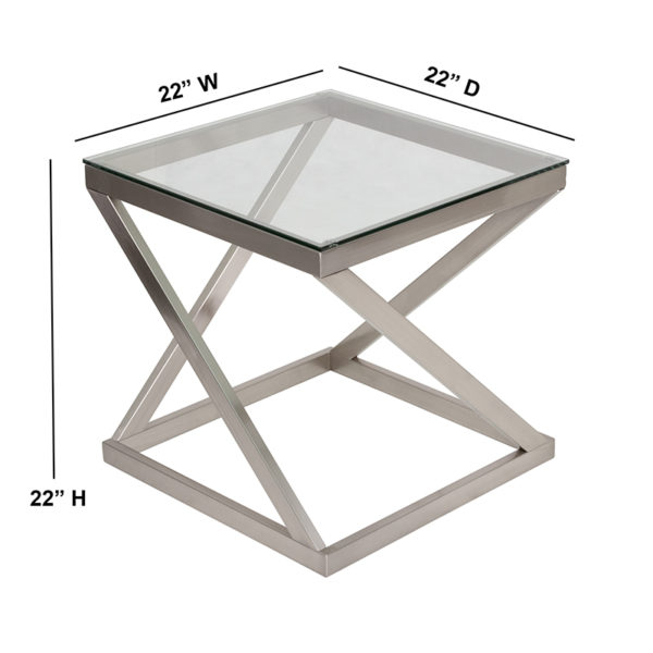 Metro Modern Style Glass End Table