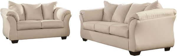 Lowest Price Signature Design by Ashley Darcy Living Room Set in Stone Microfiber