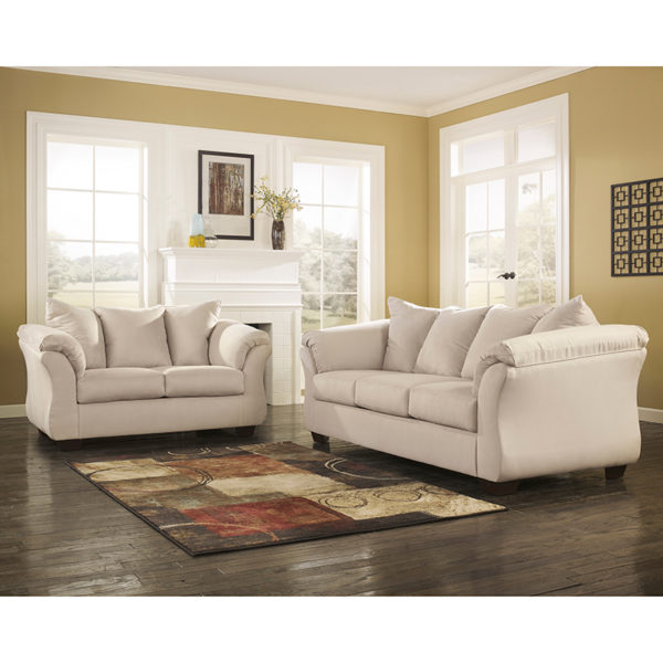 Wholesale Signature Design by Ashley Darcy Living Room Set in Stone Microfiber