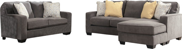 Lowest Price Signature Design by Ashley Hodan Living Room Set in Marble Microfiber