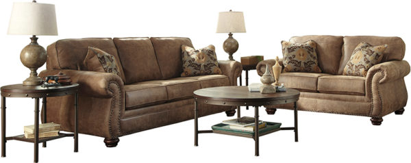 Lowest Price Signature Design by Ashley Larkinhurst Living Room Set in Earth Faux Leather