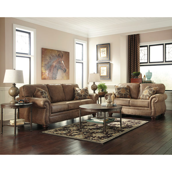 Wholesale Signature Design by Ashley Larkinhurst Living Room Set in Earth Faux Leather
