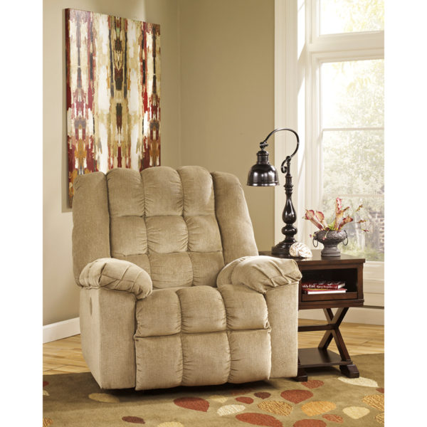 Lowest Price Signature Design by Ashley Ludden Power Rocker Recliner in Sand Twill