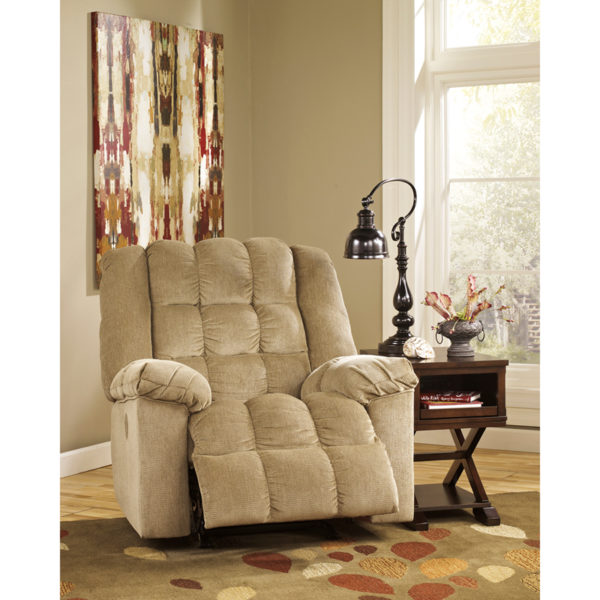 Contemporary Style Sand Twill Power Recliner