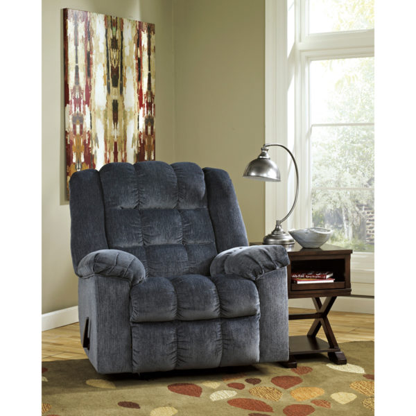 Lowest Price Signature Design by Ashley Ludden Rocker Recliner in Blue Twill