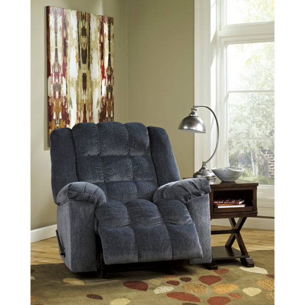 Contemporary Style Blue Twill Recliner