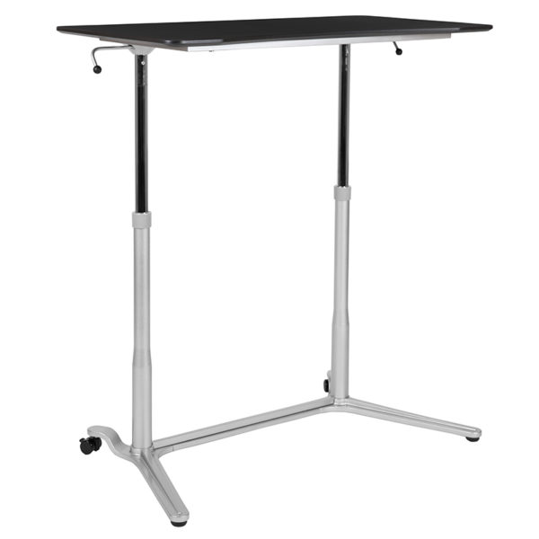 Contemporary Style Black Sit-Stand Computer Desk