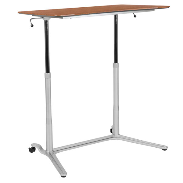 Contemporary Style Cherry Sit-Stand Computer Desk