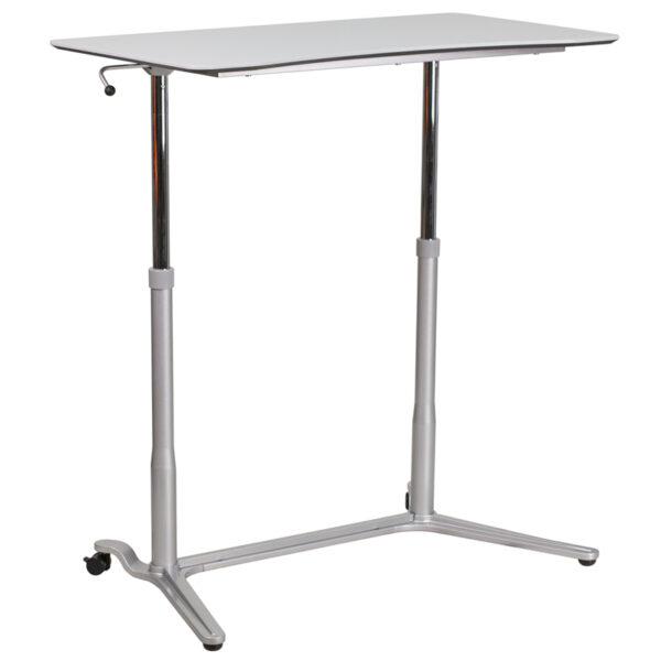 Stand-Up Light Gray Computer Ergonomic Desk with 37.375''W Top (Adjustable Range 29'' - 40.75'')