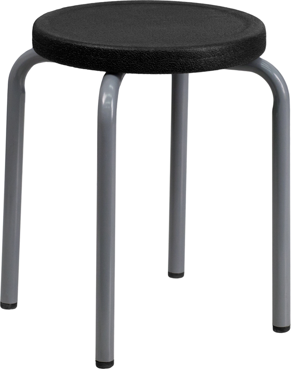 Wholesale Stackable Stool with Black Seat and Silver Powder Coated Frame