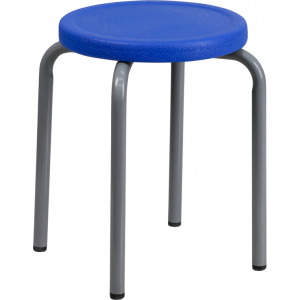 Wholesale Stackable Stool with Blue Seat and Silver Powder Coated Frame