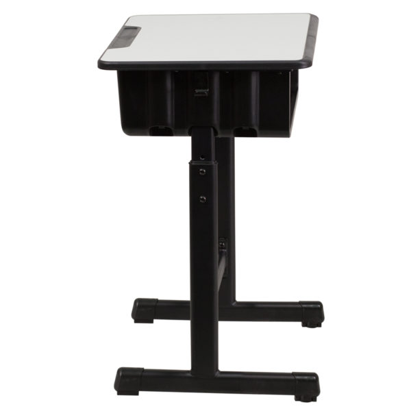 Lowest Price Student Desk with Grey Top and Adjustable Height Black Pedestal Frame