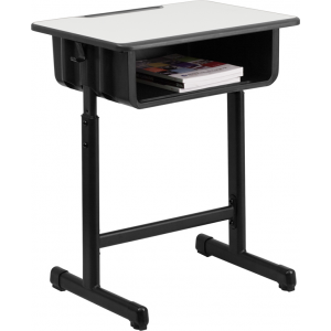 Wholesale Student Desk with Grey Top and Adjustable Height Black Pedestal Frame