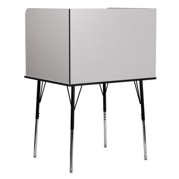 Lowest Price Study Carrel with Adjustable Legs and Top Shelf in Nebula Grey Finish