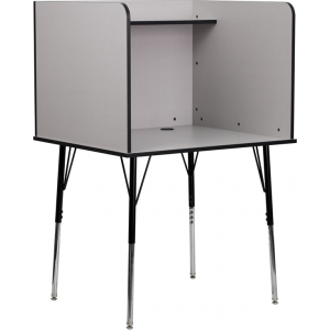 Wholesale Study Carrel with Adjustable Legs and Top Shelf in Nebula Grey Finish