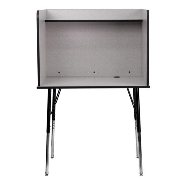 Stand-alone Floor Carrel Grey Adjustable Study Carrel