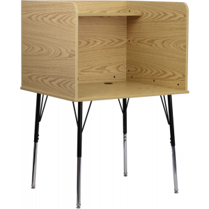 Wholesale Study Carrel with Adjustable Legs and Top Shelf in Oak Finish