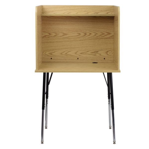 Stand-alone Floor Carrel Oak Adjustable Study Carrel