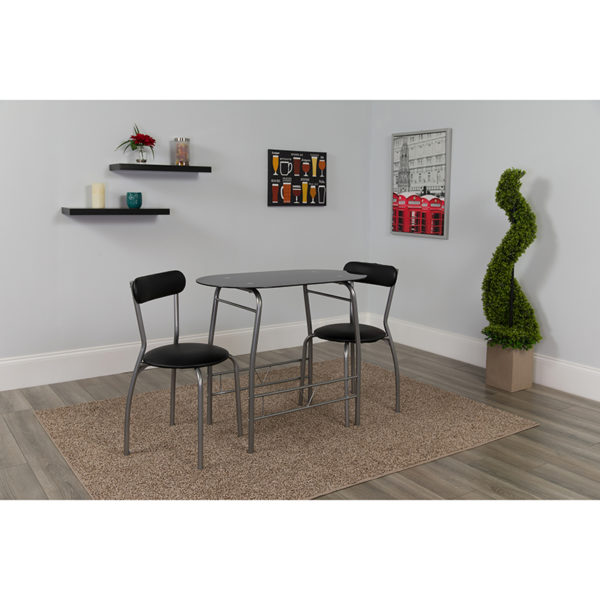 Lowest Price Sutton 3 Piece Space-Saver Bistro Set with Black Glass Top Table and Black Vinyl Padded Chairs