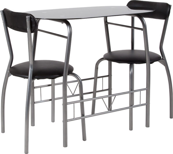 Wholesale Sutton 3 Piece Space-Saver Bistro Set with Black Glass Top Table and Black Vinyl Padded Chairs