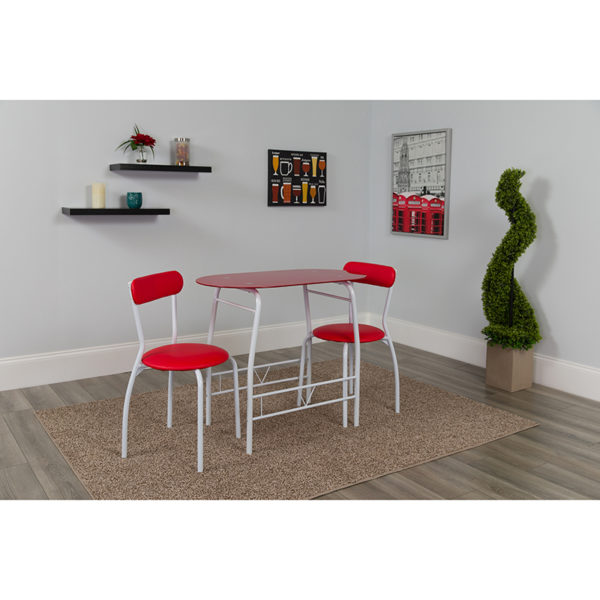 Lowest Price Sutton 3 Piece Space-Saver Bistro Set with Red Glass Top Table and Red Vinyl Padded Chairs