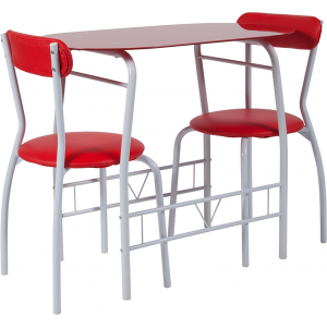 Wholesale Sutton 3 Piece Space-Saver Bistro Set with Red Glass Top Table and Red Vinyl Padded Chairs