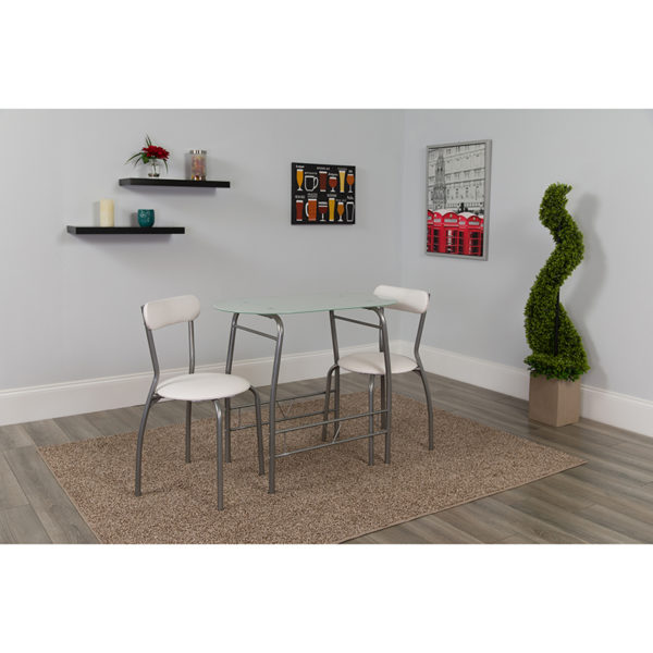 Lowest Price Sutton 3 Piece Space-Saver Bistro Set with White Glass Top Table and White Vinyl Padded Chairs