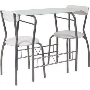 Wholesale Sutton 3 Piece Space-Saver Bistro Set with White Glass Top Table and White Vinyl Padded Chairs