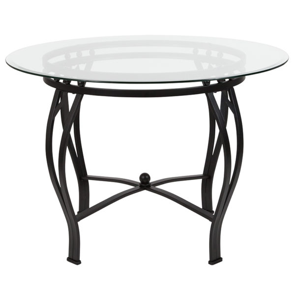 Lowest Price Syracuse 42'' Round Glass Dining Table with Black Metal Frame