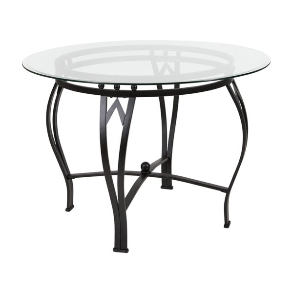 Wholesale Syracuse 42'' Round Glass Dining Table with Black Metal Frame