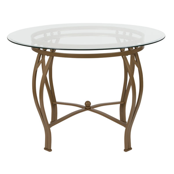 Lowest Price Syracuse 42'' Round Glass Dining Table with Matte Gold Metal Frame