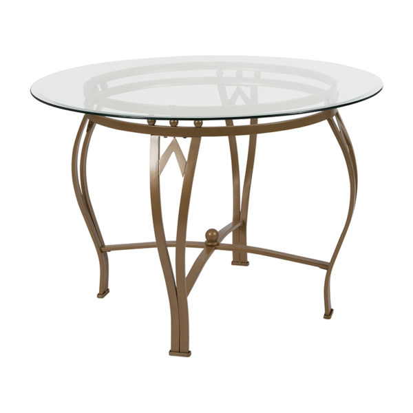 Wholesale Syracuse 42'' Round Glass Dining Table with Matte Gold Metal Frame