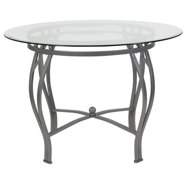 Lowest Price Syracuse 42'' Round Glass Dining Table with Silver Metal Frame