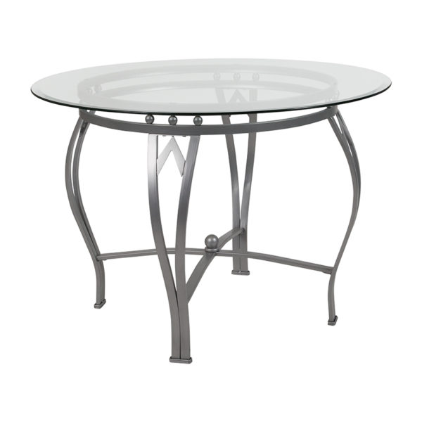 Wholesale Syracuse 42'' Round Glass Dining Table with Silver Metal Frame