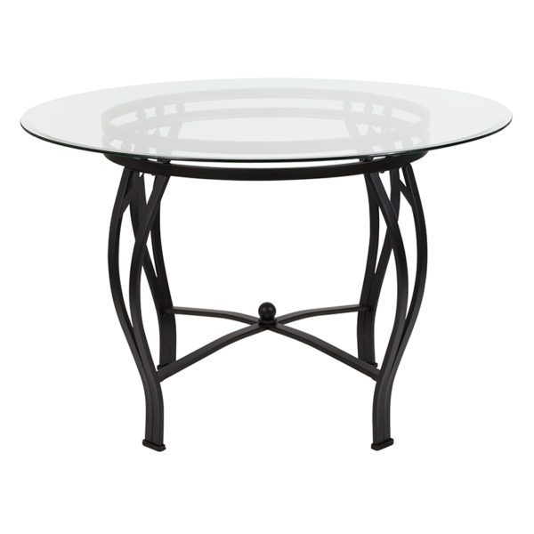 Lowest Price Syracuse 45'' Round Glass Dining Table with Black Metal Frame