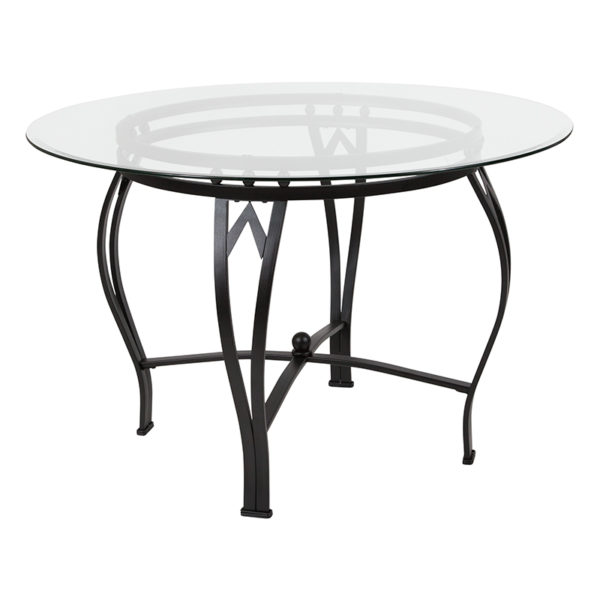 Wholesale Syracuse 45'' Round Glass Dining Table with Black Metal Frame