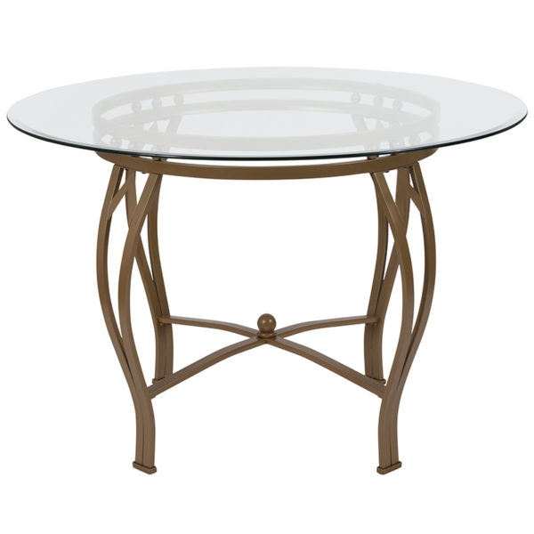 Lowest Price Syracuse 45'' Round Glass Dining Table with Matte Gold Metal Frame