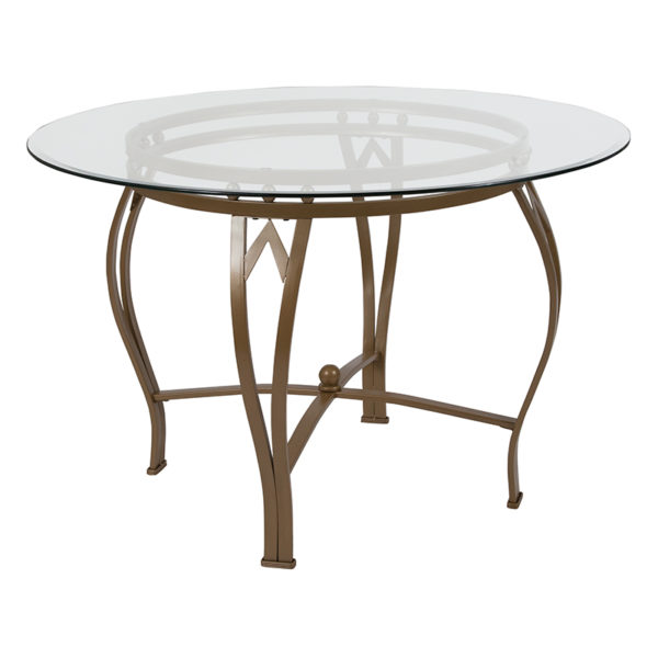 Wholesale Syracuse 45'' Round Glass Dining Table with Matte Gold Metal Frame