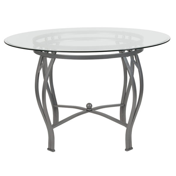 Lowest Price Syracuse 45'' Round Glass Dining Table with Silver Metal Frame