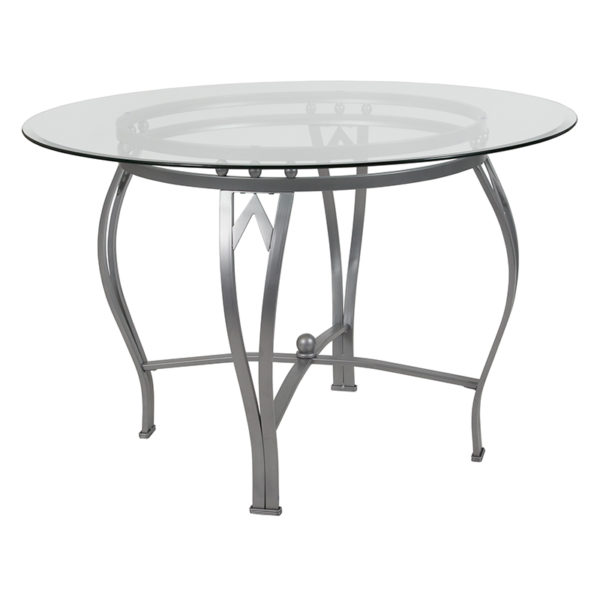 Wholesale Syracuse 45'' Round Glass Dining Table with Silver Metal Frame
